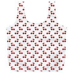 Red Cherries On White Pattern   Full Print Recycle Bags (L)