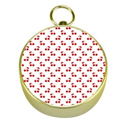 Red Cherries On White Pattern   Gold Compasses