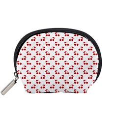 Red Cherries On White Pattern   Accessory Pouches (Small)