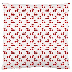 Red Cherries On White Pattern   Large Flano Cushion Case (One Side)