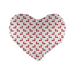 Red Cherries On White Pattern   Standard 16  Premium Flano Heart Shape Cushions