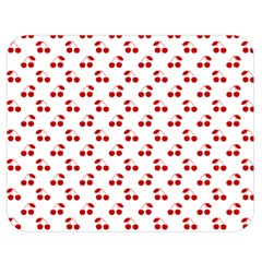 Red Cherries On White Pattern   Double Sided Flano Blanket (Medium)