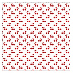 Red Cherries On White Pattern   Large Satin Scarf (Square)