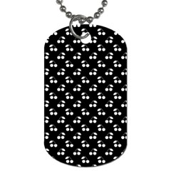 White Cherries On Black Dog Tag (Two Sides)