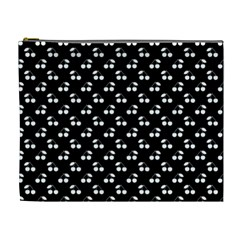 White Cherries On Black Cosmetic Bag (XL)