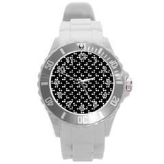 White Cherries On Black Round Plastic Sport Watch (L)