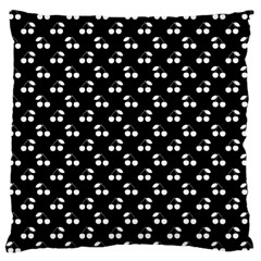 White Cherries On Black Large Cushion Case (Two Sides)
