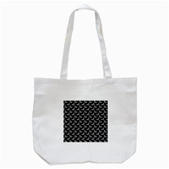 White Cherries On Black Tote Bag (White)