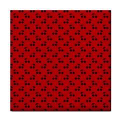 Black Cherries On Red Tile Coasters