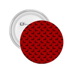 Black Cherries On Red 2.25  Buttons