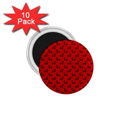 Black Cherries On Red 1.75  Magnets (10 pack)