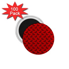 Black Cherries On Red 1.75  Magnets (100 pack)