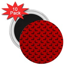 Black Cherries On Red 2.25  Magnets (10 pack)