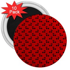 Black Cherries On Red 3  Magnets (10 pack)