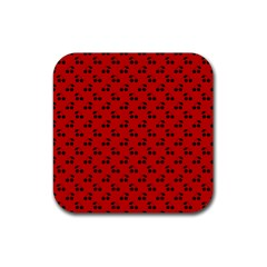 Black Cherries On Red Rubber Coaster (Square)