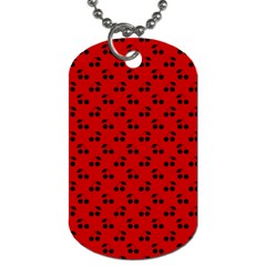 Black Cherries On Red Dog Tag (One Side)