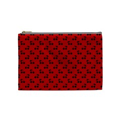 Black Cherries On Red Cosmetic Bag (Medium)