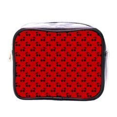 Black Cherries On Red Mini Toiletries Bags