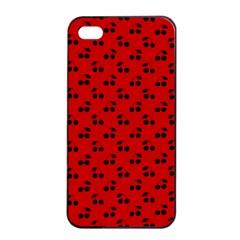 Black Cherries On Red Apple iPhone 4/4s Seamless Case (Black)