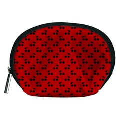 Black Cherries On Red Accessory Pouches (medium)