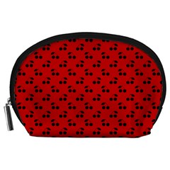 Black Cherries On Red Accessory Pouches (Large)