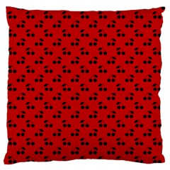 Black Cherries On Red Standard Flano Cushion Case (One Side)