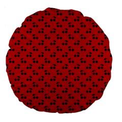 Black Cherries On Red Large 18  Premium Flano Round Cushions