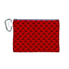 Black Cherries On Red Canvas Cosmetic Bag (M)