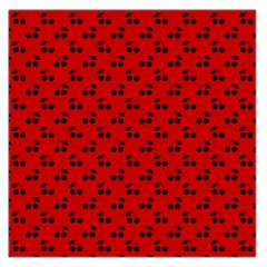 Black Cherries On Red Large Satin Scarf (Square)