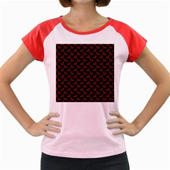 Red Cherries On Black Women s Cap Sleeve T-Shirt