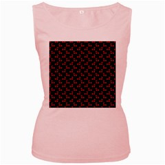 Red Cherries On Black Women s Pink Tank Top