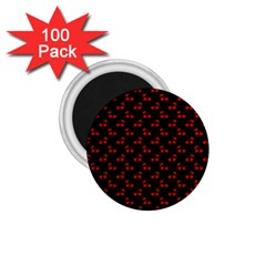 Red Cherries On Black 1.75  Magnets (100 pack)