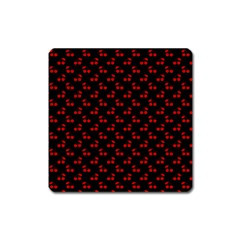 Red Cherries On Black Square Magnet