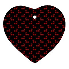 Red Cherries On Black Heart Ornament (Two Sides)