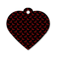 Red Cherries On Black Dog Tag Heart (Two Sides)