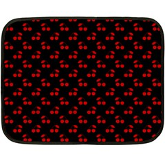 Red Cherries On Black Double Sided Fleece Blanket (Mini)