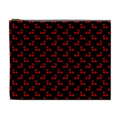 Red Cherries On Black Cosmetic Bag (XL)