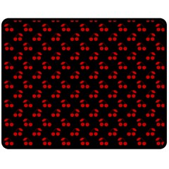 Red Cherries On Black Fleece Blanket (Medium)