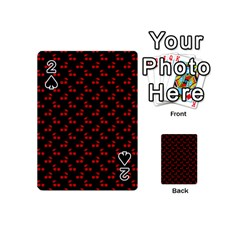Red Cherries On Black Playing Cards 54 (Mini)