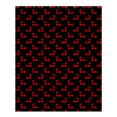 Red Cherries On Black Shower Curtain 60  x 72  (Medium)