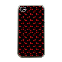 Red Cherries On Black Apple iPhone 4 Case (Clear)