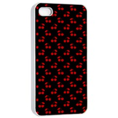 Red Cherries On Black Apple iPhone 4/4s Seamless Case (White)