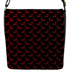 Red Cherries On Black Flap Messenger Bag (S)