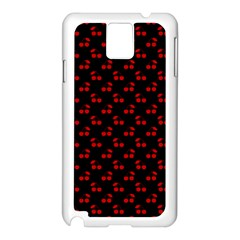 Red Cherries On Black Samsung Galaxy Note 3 N9005 Case (White)