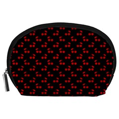Red Cherries On Black Accessory Pouches (Large)