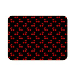 Red Cherries On Black Double Sided Flano Blanket (Mini)