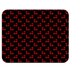 Red Cherries On Black Double Sided Flano Blanket (Medium)