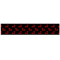 Red Cherries On Black Flano Scarf (Large)