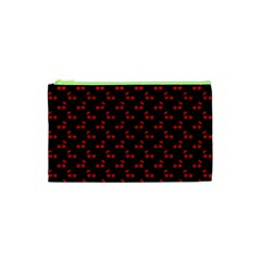 Red Cherries On Black Cosmetic Bag (XS)