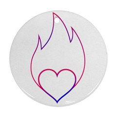 Heart Flame Logo Emblem Ornament (round)
